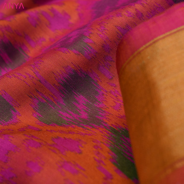 Dual Tone Orange & Pink Patan Patola Silk Fabric With Zari Border