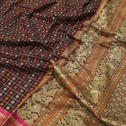 Brown Kanchi Cotton Saree With Blouse