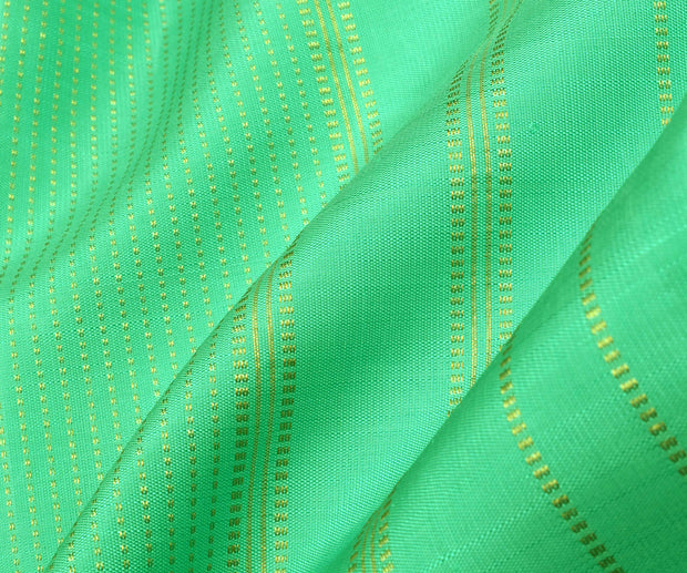 Seagreen Raising Muthuseer Line Kanchi Silk Saree With Ink Blue Blouse