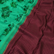 Turquoise green Printed Kanchi Silk Saree With Blouse