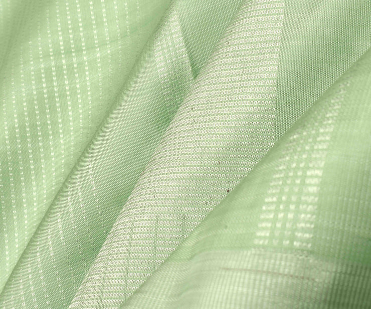 Apple Green Muthu Seer Silver Kanchi Silk Saree With Silver Zari Border and Rose Blouse