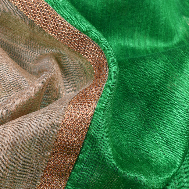 Half White Tussar Jute And Green Cotton Banarasi Half And Half Saree With  Cotton Banarasi Silk Blouse