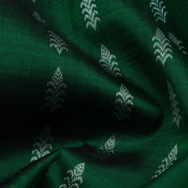 Bottle Green Silver Zari Half And Half Kanchi Silk Saree With Grey Pallu And Blouse