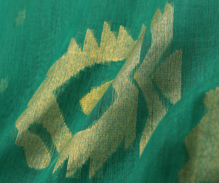 Turquoise Linen Tussar  Saree With Gold Border and  Gold Zari Butta Blouse