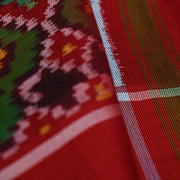 Red Patan Patola Silk Fabric With Border