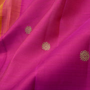 Rose And Orange Kamalam Zari Button  Half And Half Kanchi Silk Saree With Blouse