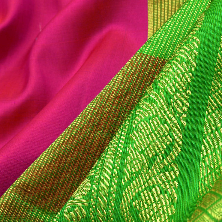 Rose Kollam Silver And Gold Zari Gadwal Silk Saree With Parrot Green Temple Border With Blouse