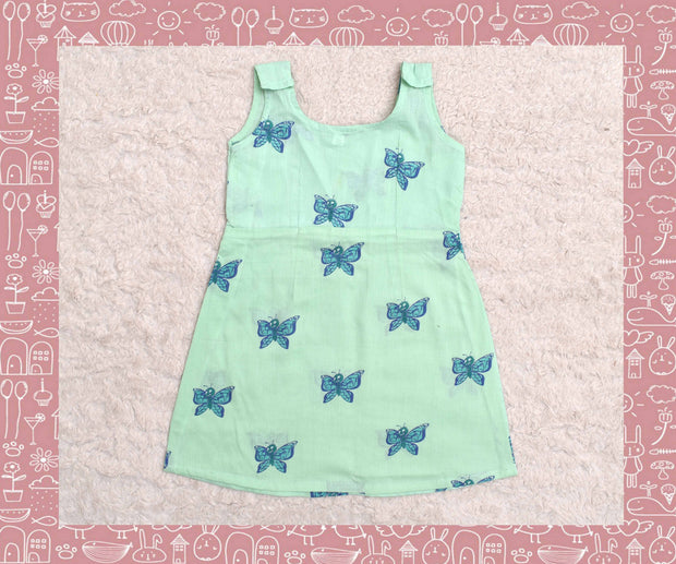 Indravati - Apple Green With Green Butterfly Printed Frock (2yrs)