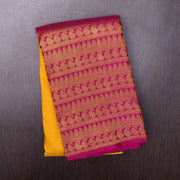 Musturd Kanchi Silk Saree With Pink Mango Design long Border
