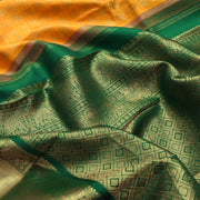 Mango Yellow Kanchi Silk Saree With Forest Green Blouse