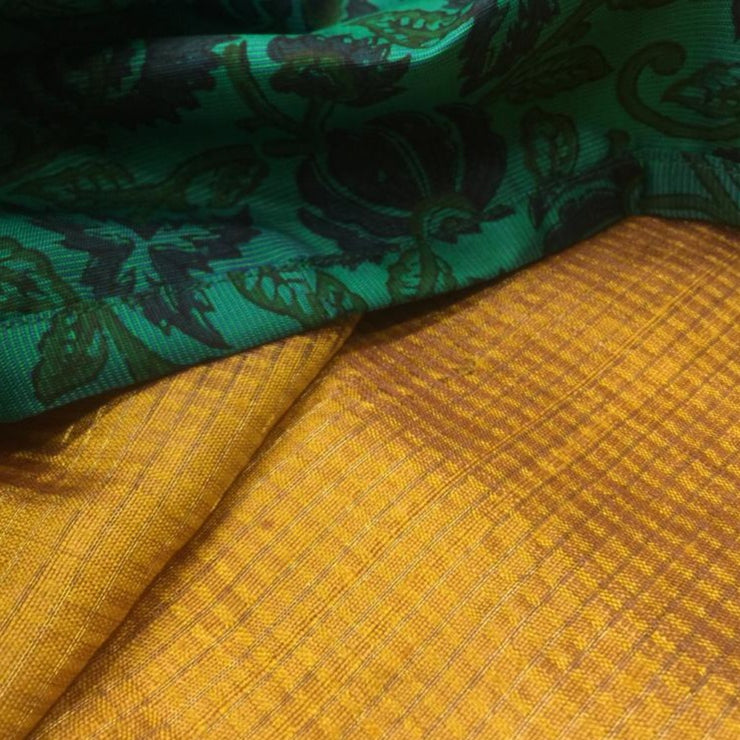 Mustard Checked Tussar Silk Saree With Turquoise Blue Tussar Floral Printed Blouse