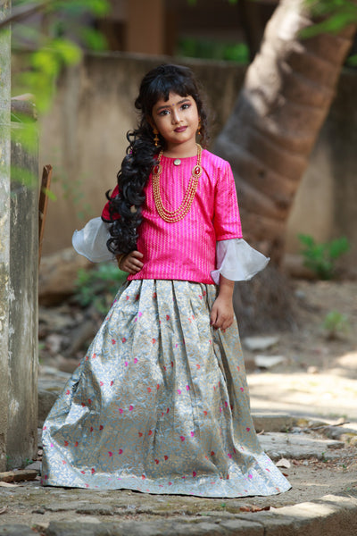 Pink Top With Banarasi Floral Creeper Skirt
