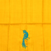 Mustard Kanchi Silk Saree With Turquoise Kanchi Silk Peacock Applique Design With Floral Embroidery Design And Rose Banarasi Silk Border With Blouse