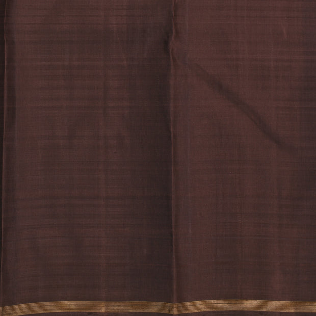 Pink Checked Half And Half Kanchi Silk Saree With Chocolate Brown Pallu And Blouse