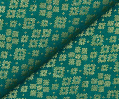 Green Banarasi Silk Fabric with Butta