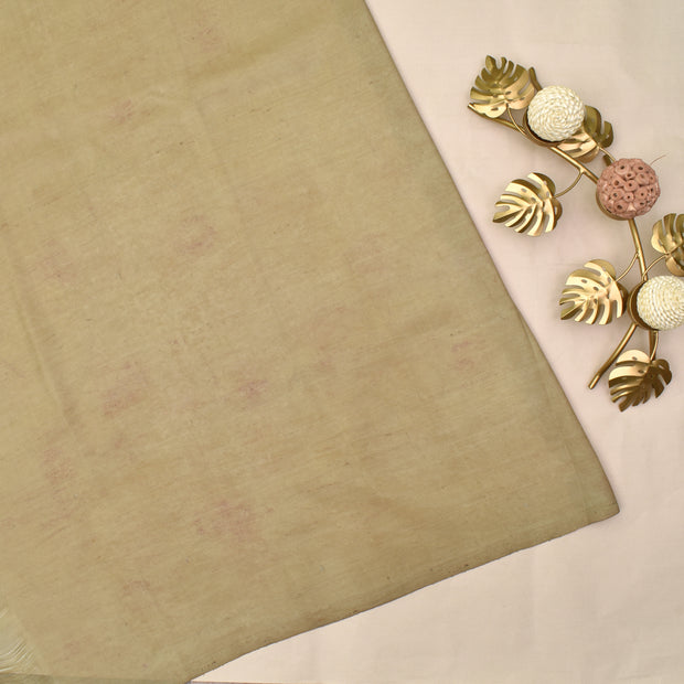 Half White Pen Kalamkari Kanchi Silk Saree With Blouse
