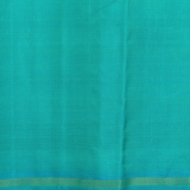 Rose Floral Zari Kanchi Silk Saree With Turquoise Blue Blouse