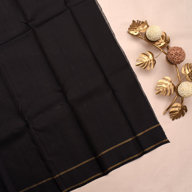 Black Kanchi Silk Saree With Black Blouse