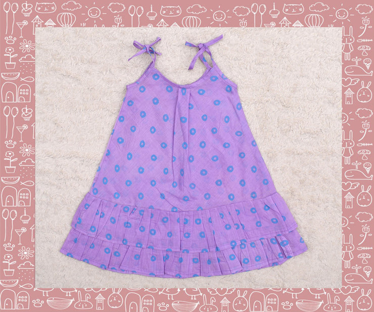 Bhadra - Lavender With Blue Circle Printed Frock (1yr)