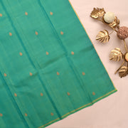 Black Kanchi Silk Saree With Turquoise Blue Blouse
