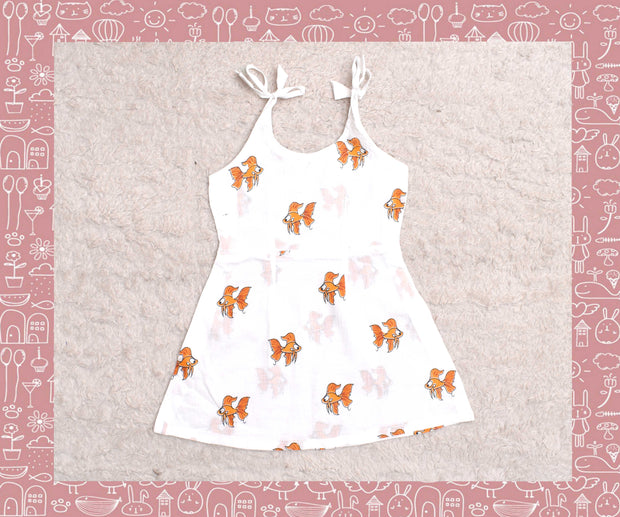 Bhagirathi - White With Orange Fish Printed Frock