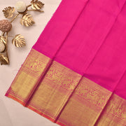 Bottle Green Kanchi Silk Saree With Rose Blouse