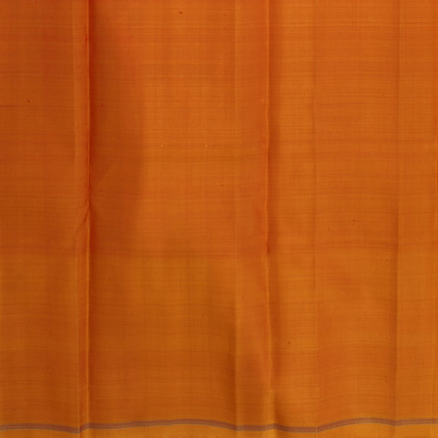 Maroon Kattam Thraed Zari Kanchi Silk Saree With Dual Tone Orange And Yellow Pallu And Blouse