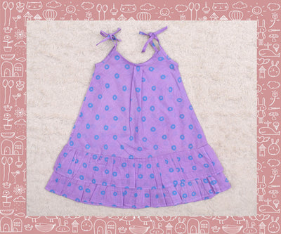 Bhadra - Lavender With Blue Circle Printed Frock
