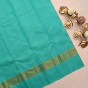 Mustard Checked Kanchi Silk Saree With Sky Blue Blouse