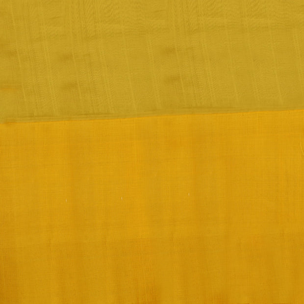 Rose Kora Silk Saree With Blue Temple Thread Zari And Yellow Long Border With Blouse