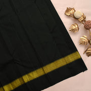 Mustard And Green Kanchi Silk Saree With Black Blouse
