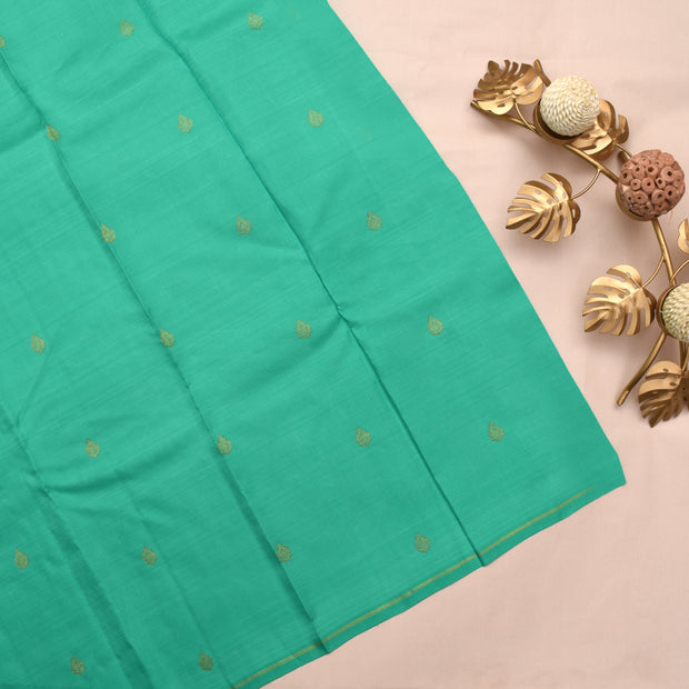 Brown Kanchi Silk Saree With Turquoise Blue Blouse