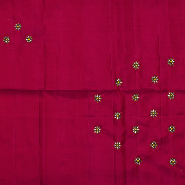 Red Embroidered Kanchi Silk And Mustrad Georgette Half And Half Saree With Red Embroidered Blouse