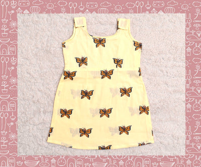 Indravati - Sandal With Rust Butterfly Printed Frock (2yrs)