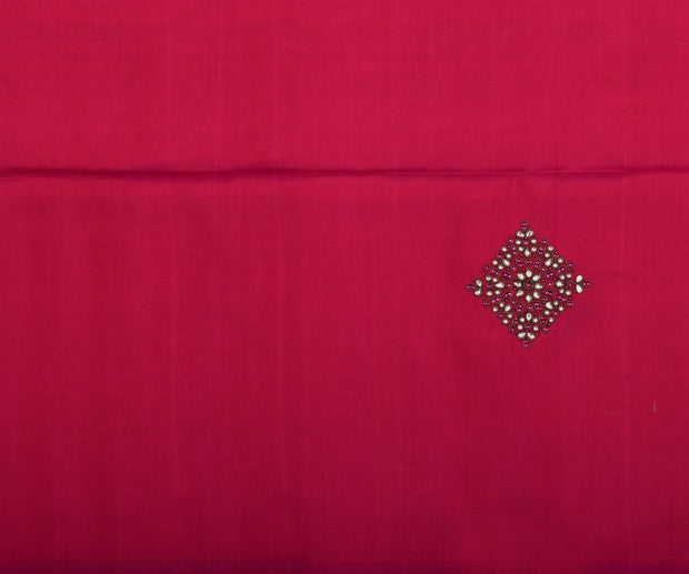 Black Kanchi Silk Saree With Hot Pink Pallu Crafted With Kundhan Diamond Work - With Blouse