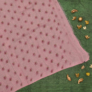 Pink Printed Organza Sequins Saree With Blouse
