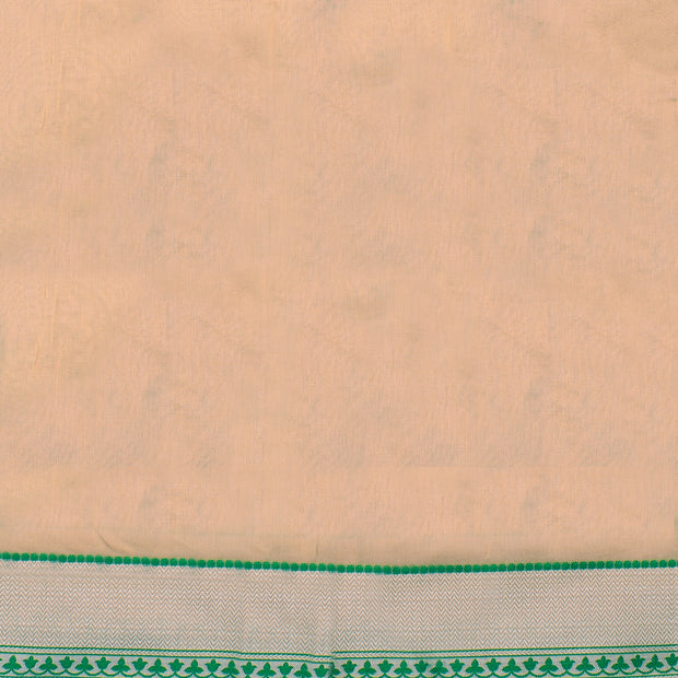 Half White  Floral Printed Kota Cotton Saree With Half White Blouse And Green Thread Zari Border
