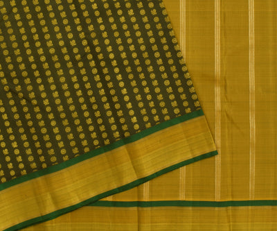 Olive Green Mayil And Chakram Thread Butta Kanchi Silk Saree With Blouse