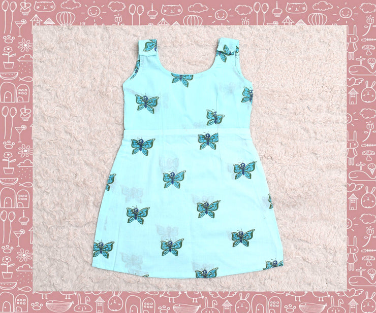 Indravati - Sky Blue With Blue Butterfly Printed Frock