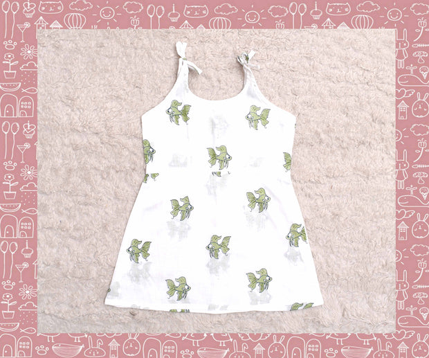 White With Green Fish Printed Frock