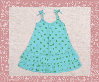 Bhadra - Seagreen With Green Circle Printed Frock (1yr)
