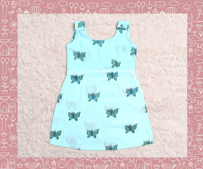 Indravati - Sky Blue With Blue Butterfly Printed Frock (2yrs)