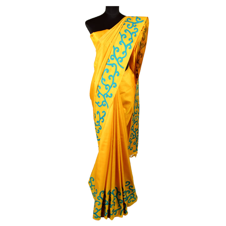 Mustard Kanchi Silk Saree With Turquoise Kanchi Silk Creeper Applique Design With Blouse
