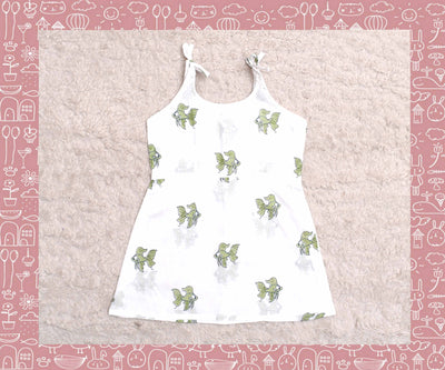 White With Apple Green Fish Printed Frock