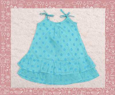 Bhadra - Turquoise With Blue Circle Printed Frock (2yrs)