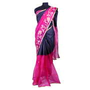 Black Check Tussar and Pink Organza Half and Half Saree