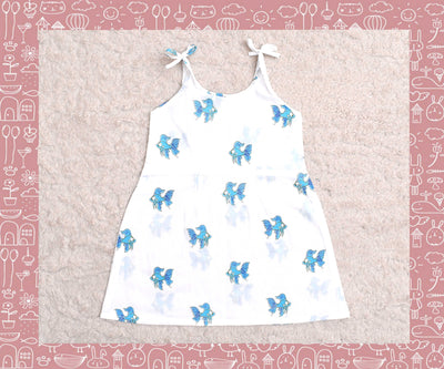 Bhagirathi - White With Blue Fish Printed Frock (2yrs)