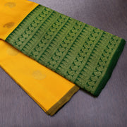 Musturd Kanchi Silk Saree With Green Mango Design Long Border
