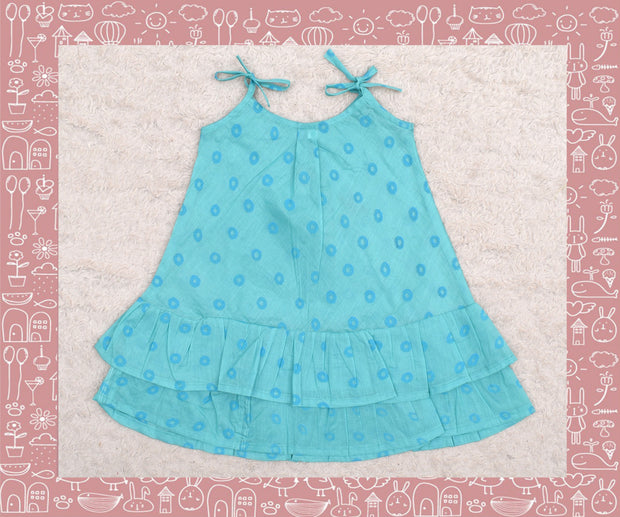 Bhadra - Turquoise With Blue Circle Printed Frock (3yrs)