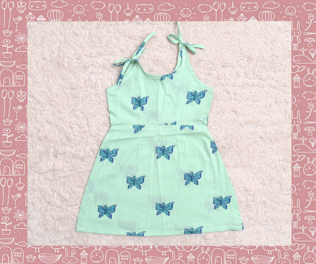 Bhagirathi - Seagreen With Rexona Blue Butterfly Printed Frock (3yrs)